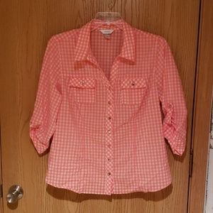 Checked Button Up Shirt with 3/4 Sleeves
